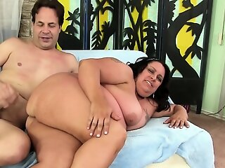 BBW Lacy Bangs Lets Him In..