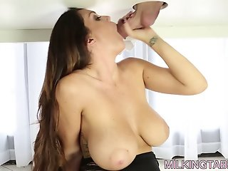 Alison milks a big cock to a..